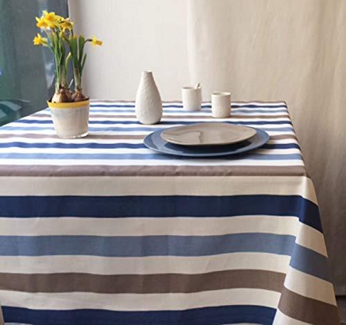 Fleur de soleil ~ Nappe Rayure Taupe/Bleu Coton Enduit ourlée 120x160