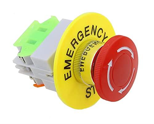 Flyuzi Gorra roja de Setas 1NO 1 UNC DPST Interruptor de botón de Parada de Emergencia AC 660V 10A