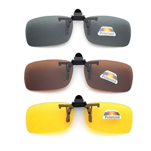 shentaotao Frame-Menos 3 Piezas Unisex Uv400 Lente Polarizada Rectángulo Lente Tirón Encima del Clip En Gafas De Sol De La Prescripción De Anteojos De Visión Nocturna Gafas De Cuidado Personal