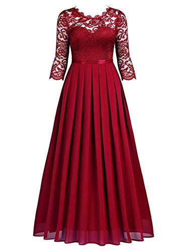 HenzWorld Damen Retro Chiffon Abendkleid Spitze Brautjungfer formelles langes Kleid Damen 3/4 Ärmel schmal Plissee Maxirock rot Größe M.