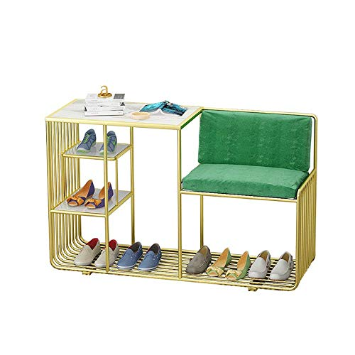 Cambiar de banco del zapato Gabinete integrado Combinación - Inicio puerta de entrada puede sentarse Hierro forjado oro estante de mármol zapato con amortiguador de asiento de zapatero de almacenamien