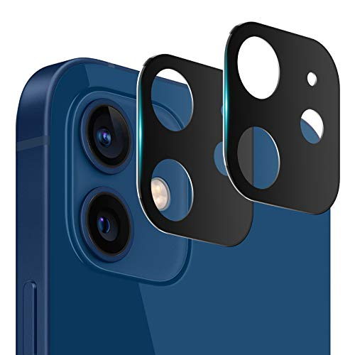Ossky Protector de Cámara para iPhone 12 Pro MAX,Pantalla de Cristal Templado de Lente de Cámara [Anti-Rasguños]de iPhone 12[Anti-Polvo] 2 Pack -Negro