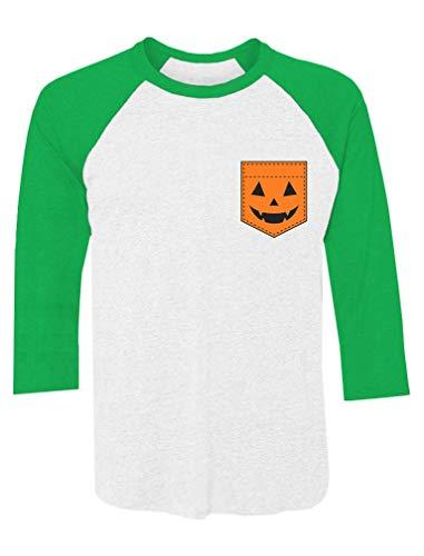 Halloween Jack O' Lantern Pumpkin Pocket Print 3/4 Sleeve Baseball Jersey Shirt Large Green/White