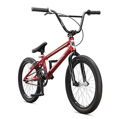 Mongoose Title Pro BMX Race Bike, 20-Inch Wheels, Beginner to Intermediate Riders, Lightweight Aluminum Frame, Internal Cable Routing, Red