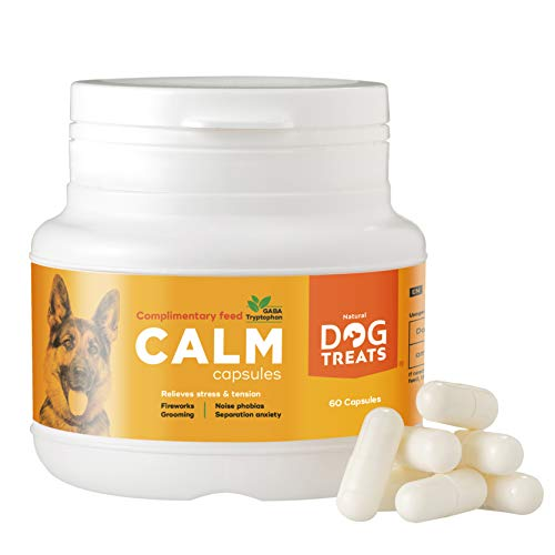 Natural Dog Treats Calmante per Cani e Gatti, Raccomandato dai Veterinari, Aiuta a Ridurre Ansia da Separazione, Fuochi d'Artificio, Viaggi, 60 Compresse