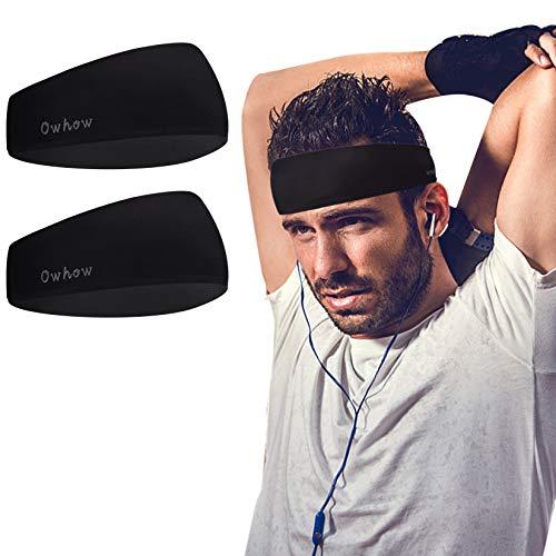 Owhow Headbands for Men Women(2 Pack), Non-Slip Sports Lightweight Sweat Band Moisture Wicking Workout Sweatbands for Running, Cross Training, Hiking, Yoga and Bike-Unisex Hairband
