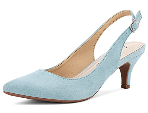 Greatonu Womens Slingback Dress Pump Faux Suede Pointed Toe 2 Inches Low Kitten Heel Shoes<br />