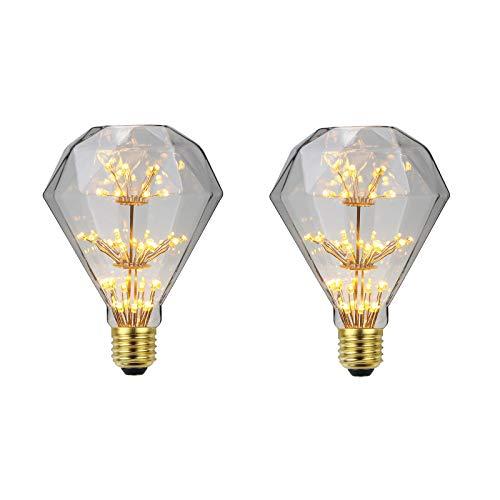 KANGLE-DERI Retro Edison Flat Top Diamond Bulb 4W, E27 Bombilla De Ahorro De Energía con Casquillo Roscado, 220VLED Gypsophila Bombilla De Decoración De Fuegos Artificiales, 2700K,2pcs