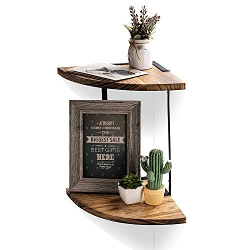 NEX 2-Tier Corner Shelf Floating Wall Mount Round End Shelves for Living Room, Bedroom…