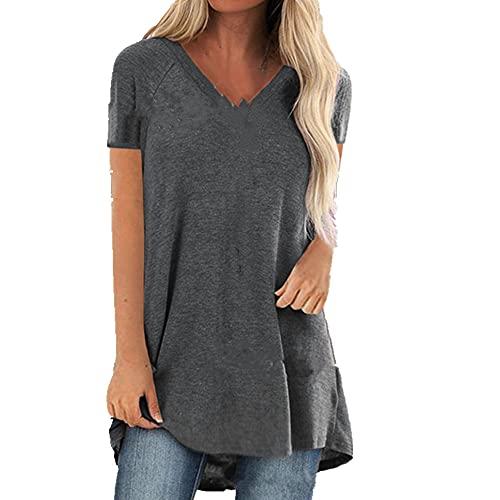 N\P Camiseta de manga corta de las señoras casual camiseta suelta con cuello en V camiseta de las señoras Tops de las mujeres