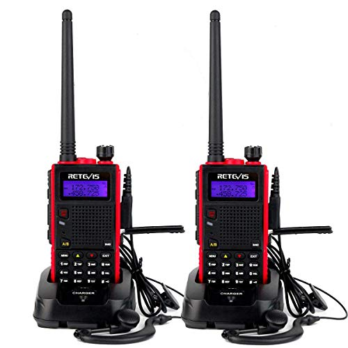 Retevis RT5 2 Way Radios Long Range,High Power Dual Band Two Way Radios Reachargeable, Emergency LCD Walkie Talkies for Adults with Earpiece (Red, 2 Pack)