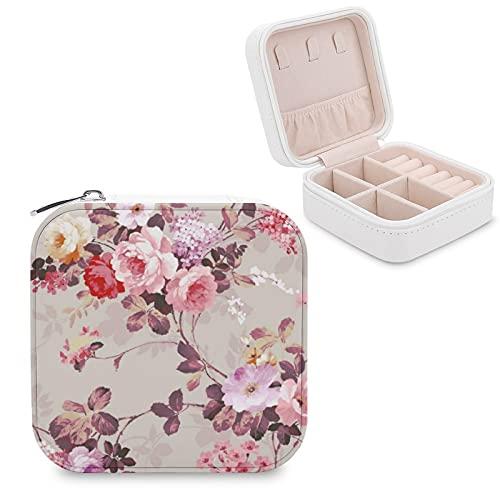 Joyero organizador de viaje para niñas, regalo vintage, elegante, rosa, rojo, morado, rosa, caja de almacenamiento portátil para anillos, pendientes, collares
