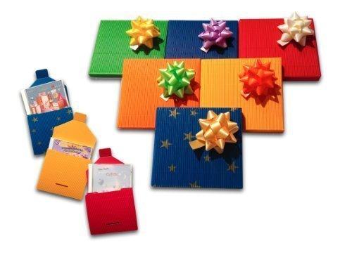 CD - Geschenkverpackung/Geschenkbox mit Schleife aus hochwertige Wellpappe - wählbar aus 6 verschiedenen Farben und Motive