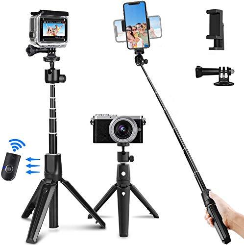 PEYOU Bastone Selfie Bluetooth, Estensibile Selfie Stick Monopiede da 104 cm con Telecomando Bluetooth, Supporto Mobile, Compatibile per iPhone/Samsung Galaxy/Huawei ecc. (Black)