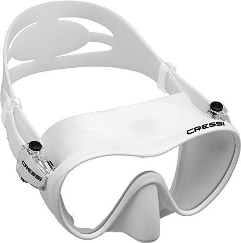 Cressi F1 Mask Máscara Monocristal Tecnología Frameless, Unisex, Blanco, L