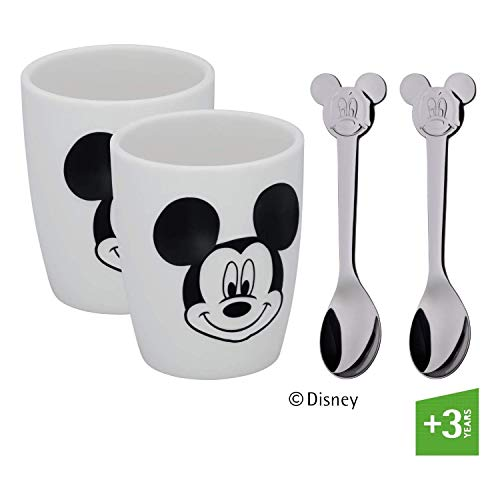 WMF 12.9643.6042 Children\'s Disney Mickey Mouse Anniversary Cups Set S, Silver, 7 cm, 4 Units, Porcelana, Plata, Unidades