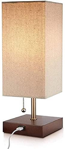 Lámpara de Pared de Moda Lámpara de Cama de Tela de Metal Simple Moderna de Madera E27 con luz Ambiental Suave Sombra única Funcional USB Luz de Escritorio de Puertos para dormitorios Lámpara de Mesa