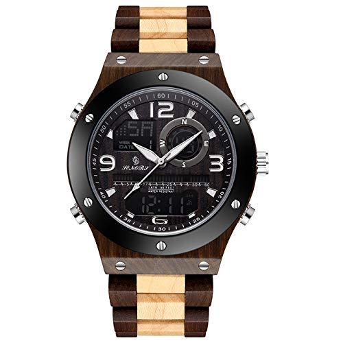 Reloj de Madera Real para Hombre, Reloj de Pulsera de Madera Digital con Pantalla de Doble Hora, Reloj de MaderaNatural Maciza, Reloj con luz Trasera para Hombre, Negro