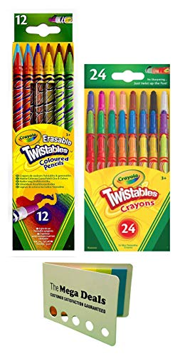 Crayola Twistable Erasable Colored Pencils, 12 Count | Twistable Mini Crayons, 24 Count | Includes 5 Color Flag Set