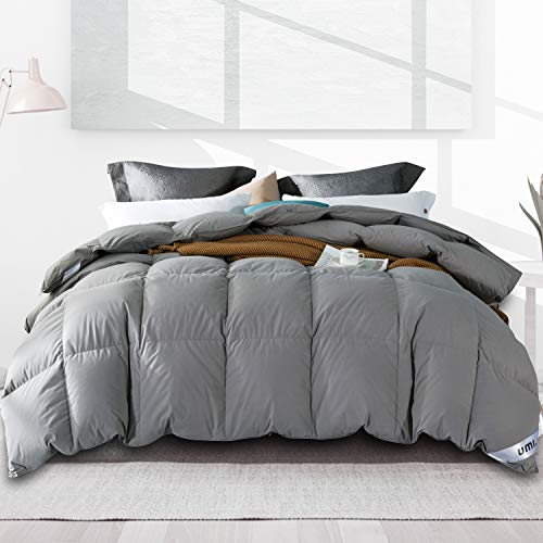 Amazon Brand - Umi Edredón de plumón de Pato 135x200cm-cama 80,Tejido 100% algodónen,100% Antideslizante, edredón de plumón hipoalergénico según Oeko-Tex STANDARD100(Gris,4 Estaciones)