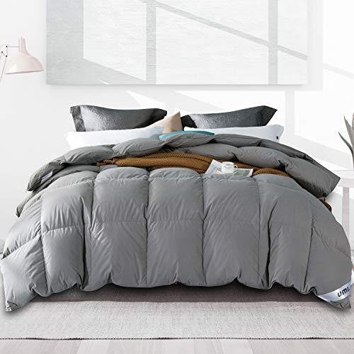 Amazon Brand - Umi Bettdecke 200x200cm Ganzjahresdecke Daunedeck mit Daunen und Federn,100% Bauwolle,Daune Steppdecke,Superleicht und Warm(Grau,4Jahreszeiten)
