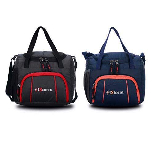 iStorm Polyester Lunch Bag/Tiffin Bag for Lunch Box (Black & Navy, Pack of 2)