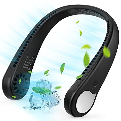 Portable Neck Fan, Wearable Personal Fan, Leafless, Rechargeable, Headphone Design, USB Powered Desk Fan,3 Speeds (Black)