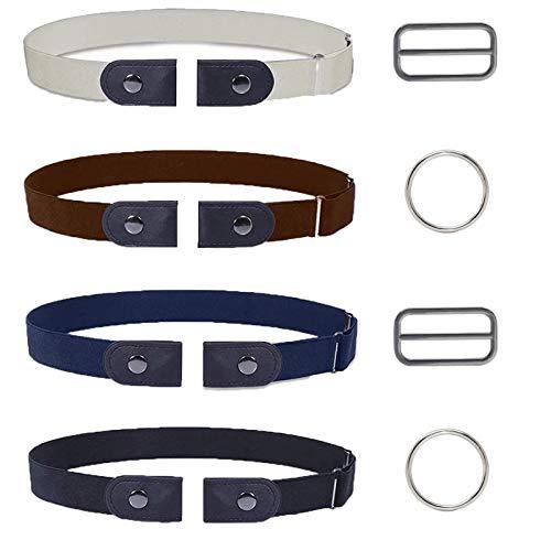COXTNBIO 4 Stücke Elastischer Gürtel, Ohne Schnalle Gürtel für Damen,Unsichtbare Gürtel für Jeans Hosen Kleid,Einstellbarer elastischer Stretch Gürtel für Damen oder Herren