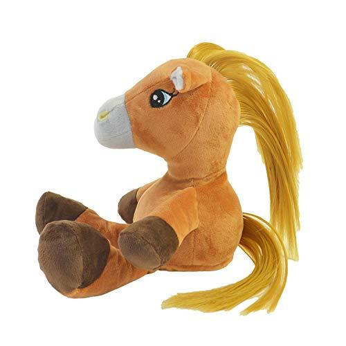 Kögler 75977 - Labertier Pferd Alina mit langen Haaren, ca. 18 cm groß, nachsprechendes Plüschtier mit Aufnahme- und Wiedergabefunktion, plappert alles witzig nach und bewegt sich, batteriebetrieben
