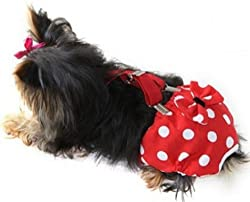 FunnyDogClothes Dog Diaper with Suspenders RED Polka DOT Reusable Washable for Small Dog Breeds Female