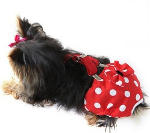 FunnyDogClothes Dog Diaper with Suspenders RED Polka DOT Reusable Washable for Small Dog Breeds Female (Large: Waist 16' - 20')