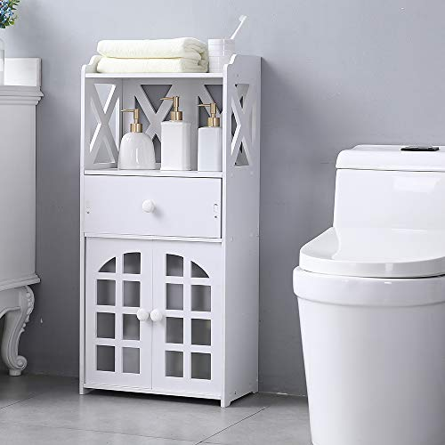Cheapest Prices! Mecor Bathroom Floor Storage Cabinet with a Top Shelf, 2 Door Shelf and a Drawer, F...