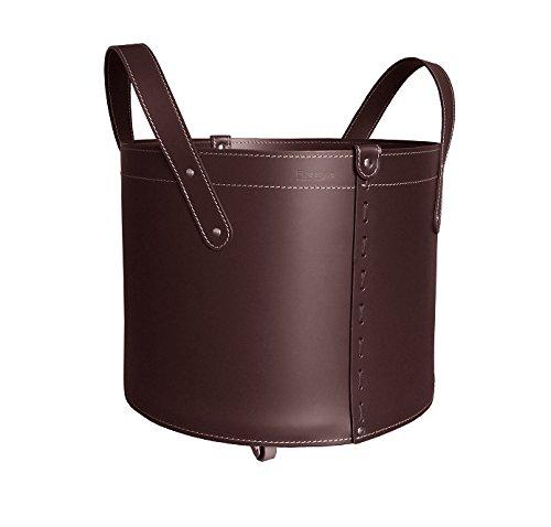 TONDA: Porte bûches en cuir de couleur Brun foncè, panier pour bûches, chariot à bois.