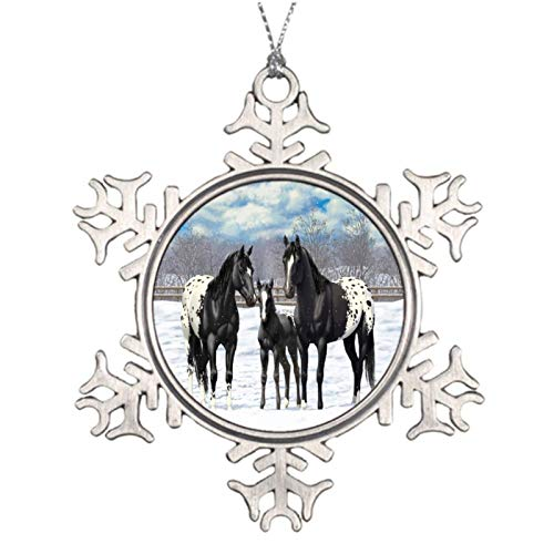 Christmas Ornaments, Black Appaloosa Horses In Snow Pewter Ornament, Snowflake Ornament Tree Hanging Decor Gift,3 Inch