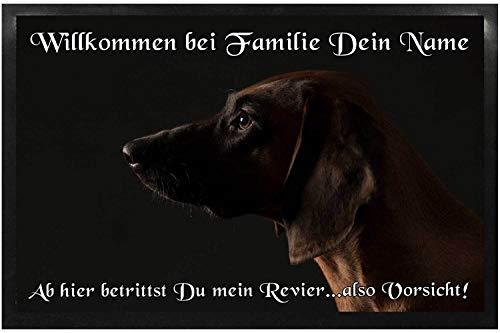 Klebespatz® Fußmatte Bayerischer Gibirgsschweisshund 01 mit Namen Bild individuell Schmutzfangmatte Türmatte Schmutzmatte Motivfußmatte Fussmatte Napfunterlage Hundematte Hund Willkommen 40 x 60cm
