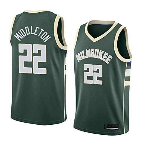 CYYX NBA Men's y Mujer Jersey Milwaukee Bucks 22# Middleton Classic Jersey, Retro cómodo/Ligero/Transpirable All-Stars Uniforme de Fan Neutro,B,XL