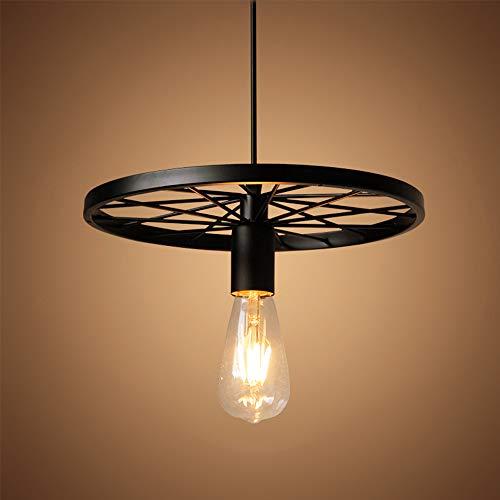 Lámpara de araña de diseño de rueda de bicicleta retro E27, Colgante de Luz estilo retro de restaurante de ático, Lámpara Colgante adecuada para decoración de interiores (sin productos de bombilla)