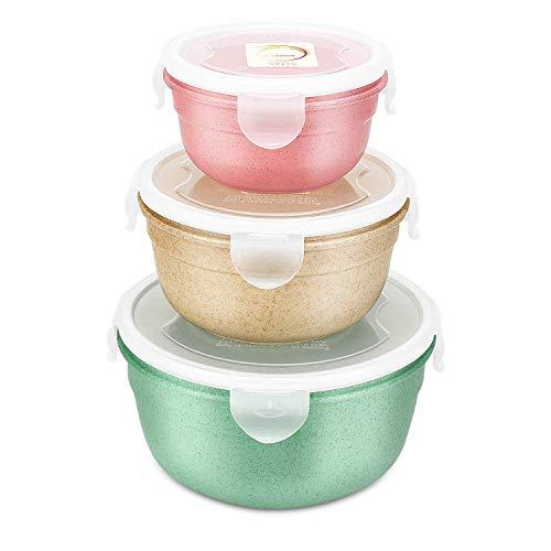 DeYoun Frischhaltedosen-Set mit klick Verschluss |3 Schüsseln mit Deckel in praktischen Größen: 300ml 550ml 1000ml | Auslaufsichere Lunch Box mit Deckel für Home Küche, Outdoor oder im Büro
