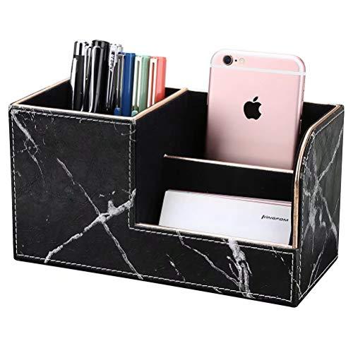 LILAN PUレザー 卓上収納ボックス 卓上収納ケース デスク収納ボックス 文具収納ボックス 鉛筆スタンド ペン立て おしゃれ(金縁黒い大理石模様)