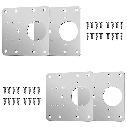 WuuPoo 4 piezas bisagras puertas cocina, placa reparación bisagra con tornillos y agujeros, placas de montaje de bisagra de puerta para cocina, armario, muebles, estantes. (4)
