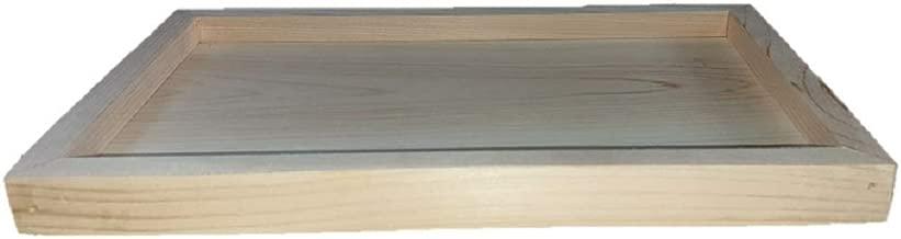 桧トレー 国産ヒノキ 木製 お盆 額縁風 小物入れ フォトフレーム ウッドボード 多用途 30㎝×19cm