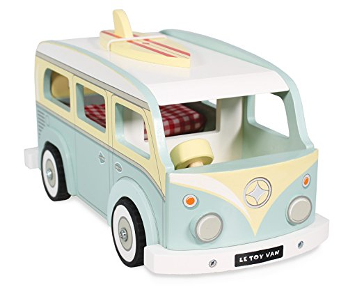 Le Toy Van - Cars & Construction Pretend Play Retro Wooden Holiday Campervan Toy Vintage Classic Style Play Set With Detachable Surfboard | Boys Play Vehicle Role Play Toys - Suitable For 3 Year Old +