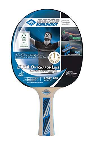 Donic-Schildkröt Tischtennisschläger Ovtcharov 700 FSC, AVS & Ergo-Griff, 2,0 mm Schwamm, FSC Holz, Avantgarde - ITTF Belag, 734408