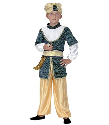 Disfraz de Sultán. Niño. Talla 5/6 años. Incluye: Sombrero, camisa, cinturón y pantalón.