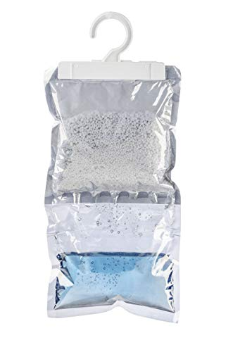 WENKO 50000100 Feuchtigkeitskiller, zum Hängen, Luftentfeuchter, 2er Set, für den Kleiderschrank, Calciumchlorid, 16 x 35,5 cm