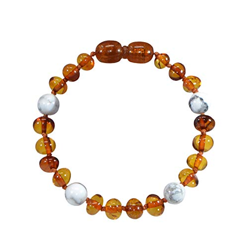 Irréversible Bijoux - Baby Bracelet made from 100% Natural Cognac & Howlite Stones – 14 cm – Certified in French Laboratory – 6 mm Bead – Secure Pop-Up Clasp