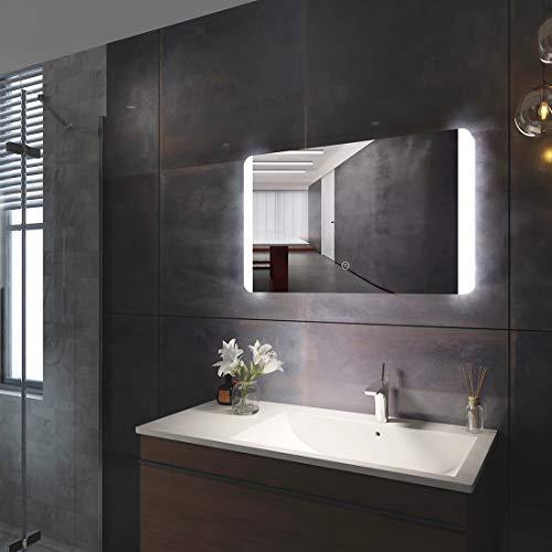 Duschdeluxe LED Spiegel Badspiegel Beleuchtung 80 x 60 x 4,5 cm Badezimmerspiegel Lichtspiegel Wandspiegel mit Touch Schalter + Beschlagfrei, IP44 Energiesparend, kaltweiß