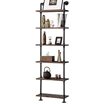 Industrial Pipe Shelves Rustic Wood Ladder Bookshelf Wall Mounted Shelf for Living Room Decor and Storage