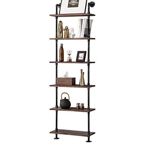 Industrial Wall Mount Iron Pipe Shelf Shelves Shelving Bracket Vintage Retro Black DIY Open Bookshelf DIY Storage offcie Room Kitchen Shelves (3Pcs,52