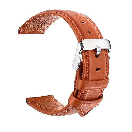 Correa de reloj, cuero de 22 mm para mujeres u hombres, pulsera de reloj de repuesto con cierre de metal de acero inoxidable para hombres Mujeres Accesorios de reloj deportivo tradicional marrón claro